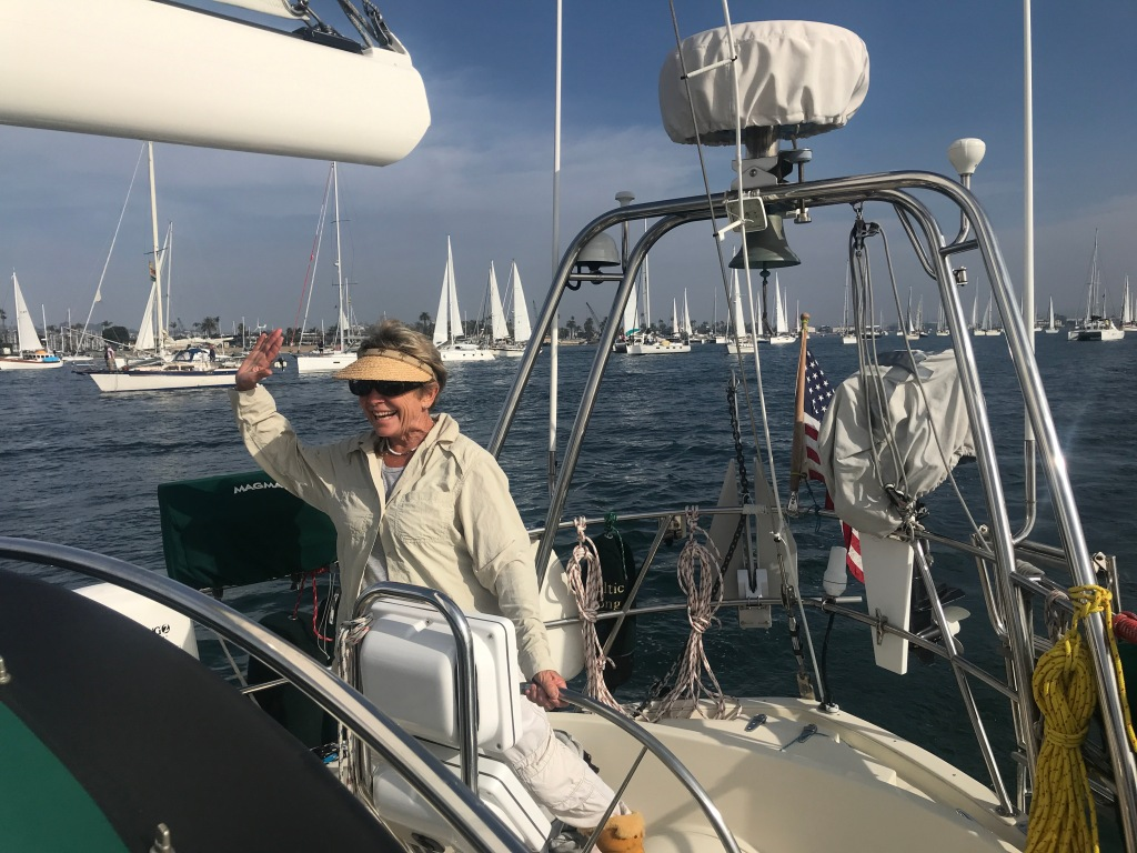 Captain Diane at the helm, excited for the Ha-Ha start
