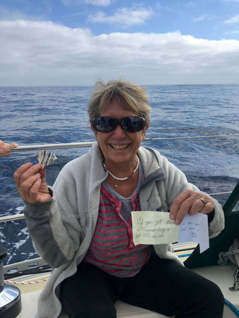 Diane finds a note from her daughter Leah hidden in her sweater pocket. It is $5 folded into a heart and the note says: If you get stuck in Mexico buy a taco 25% on me.